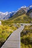 Τοποθετήστε τις κοιλάδες Tasman, Aoraki νότιο όρος πάρκων ΑΜ Cook εθνικό Στοκ Εικόνες