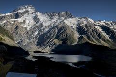 Τοποθετήστε το εθνικό πάρκο Cook που χαρακτηρίζει το χιόνι, τα βουνά και τις ήρεμες σκηνές Στοκ Εικόνες