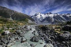 Τοποθετήστε το εθνικό πάρκο Cook που χαρακτηρίζει το χιόνι, τα βουνά και τις ήρεμες σκηνές Στοκ Εικόνα
