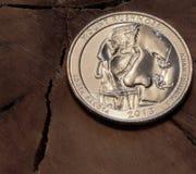 Τοποθετήστε το νόμισμα τέταρτος-δολαρίων Rushmore Στοκ εικόνα με δικαίωμα ελεύθερης χρήσης