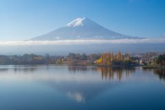Τοποθετήστε το Φούτζι και τη λίμνη Kawaguchi σε Yamanashi, Ιαπωνία στοκ εικόνες