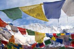 Τοποθετήστε Annapurna με τις βουδιστικές σημαίες προσευχής Στοκ φωτογραφία με δικαίωμα ελεύθερης χρήσης