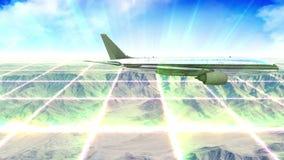 Τοποθετήστε scape και αεροπλάνο στην ημέρα με τα ελαφριά πλέγματα απόθεμα βίντεο