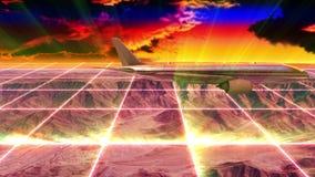 Τοποθετήστε scape και αεροπλάνο στο ηλιοβασίλεμα με τα ελαφριά πλέγματα απόθεμα βίντεο