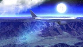 Τοποθετήστε scape και αεροπλάνο τη νύχτα με τη φλόγα φακών απόθεμα βίντεο