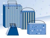 τοποθετεί το χειμώνα αγορών σε σάκκο Στοκ Εικόνες