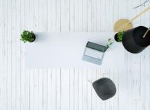 Τοπ άποψη ενός γραφείου με ένα lap-top και μια καρέκλα σε ένα εκλεκτής ποιότητας άσπρο ξύλινο πάτωμα και ενός λαμπτήρα στην τρισδ ελεύθερη απεικόνιση δικαιώματος