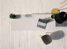 Τοπ άποψη ενός γραφείου με ένα lap-top και μια καρέκλα σε ένα εκλεκτής ποιότητας άσπρο ξύλινο πάτωμα και ενός λαμπτήρα στην τρισδ διανυσματική απεικόνιση