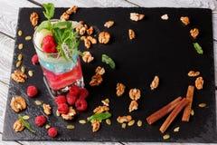 Τοπ άποψη ενός καταφερτζή και οργανικών συστατικών σε ένα επιτραπέζιο υπόβαθρο Γλυκό κρύο milkshake με τη μέντα και τα σμέουρα Στοκ φωτογραφία με δικαίωμα ελεύθερης χρήσης