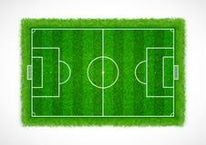 Τοπ άποψη ενός κενού γηπέδου ποδοσφαίρου με τη ρεαλιστική σύσταση, το διάνυσμα & την απεικόνιση χλόης Στοκ φωτογραφίες με δικαίωμα ελεύθερης χρήσης