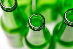 Τοπ άποψη ενός κενού πράσινου μπουκαλιού στοκ φωτογραφία με δικαίωμα ελεύθερης χρήσης