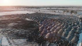 Τοπ άποψη ενός πολυγώνου με τους σωρούς accurane της χημικής παραγωγής αποβλήτων Πέταγμα πέρα από την απόρριψη φιλμ μικρού μήκους