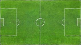 Τοπ άποψη ενός πράσινου αγωνιστικού χώρου ποδοσφαίρου ως σύσταση, υπόβαθρο στοκ εικόνα
