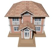 Τοπ άποψη ενός ρόδινου και συμμετρικού εξοχικού σπιτιού τρισδιάστατος δώστε διανυσματική απεικόνιση