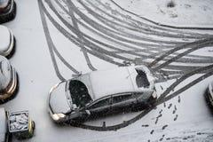 Τοπ άποψη ενός σταθμευμένου αυτοκινήτου Στοκ εικόνα με δικαίωμα ελεύθερης χρήσης