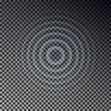 Τοπ άποψη επίδρασης κυματισμών Διαφανή δαχτυλίδια πτώσης νερού Υγιές κύμα κύκλων που απομονώνεται στο ελεγμένο backgr απεικόνιση αποθεμάτων