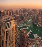 Τοπ άποψη ηλιοβασιλέματος μαρινών του Ντουμπάι Στοκ Εικόνα