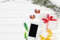 Τοπ άποψη κιβωτίων δώρων Χριστουγέννων με το διάστημα αντιγράφων Στοκ εικόνα με δικαίωμα ελεύθερης χρήσης