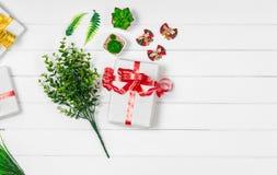Τοπ άποψη κιβωτίων δώρων Χριστουγέννων με το διάστημα αντιγράφων Στοκ Εικόνες