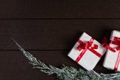 Τοπ άποψη κιβωτίων δώρων Χριστουγέννων με το διάστημα αντιγράφων Στοκ Φωτογραφία