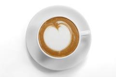 Τοπ άποψη μιας κούπας καφέ στοκ εικόνες
