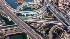 Τοπ άποψη οδών ταχείας κυκλοφορίας της Οζάκα, τοπ άποψη πέρα από την εθνική οδό, οδός ταχείας κυκλοφορίας Στοκ Εικόνα