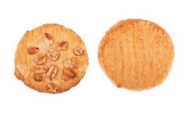 Τοπ άποψη ολόκληρων των πατατακιών σίτου δύο, που απομονώνεται σε ένα άσπρο υπόβαθρο προϊόντα εικόνας σχεδίου αρτοποιείων Γλυκά σ στοκ εικόνες