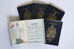 Τοπ άποψη πέντε καναδικών διαβατηρίων Στοκ Φωτογραφίες