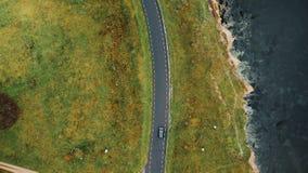 Τοπ άποψη, πέταγμα κηφήνων υψηλό επάνω από τη μαύρη οδήγηση αυτοκινήτων κατά μήκος του δρόμου ακτών φθινοπώρου κοντά στα όμορφα δ απόθεμα βίντεο