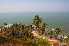 Τοπ άποψη παραλιών Arambol, φοίνικες, παραλία και αραβική θάλασσα, Goa, Ινδία Στοκ Φωτογραφία