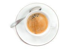 Τοπ άποψη στο φλυτζάνι του φρέσκου παρασκευασμένου espresso Στοκ εικόνες με δικαίωμα ελεύθερης χρήσης