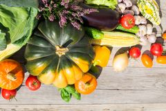 Τοπ άποψη σχετικά με τα λαχανικά φθινοπώρου Πλούσια ημέρα των ευχαριστιών φθινοπώρου συγκομιδών Στοκ Φωτογραφίες