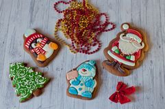 Τοπ άποψη σχετικά με τα μπισκότα μελιού για τα Χριστούγεννα Στοκ εικόνα με δικαίωμα ελεύθερης χρήσης