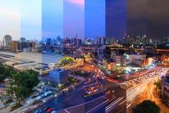 Τοπ άποψη της ελαφριάς κυκλοφορίας θαμπάδων στη Hua Lamphong Στοκ Εικόνα