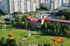 Τοπ άποψη της λεωφόρου 16 στην περιοχή Zelenograd στη Μόσχα, Ρωσία Στοκ φωτογραφίες με δικαίωμα ελεύθερης χρήσης