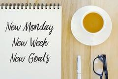 Τοπ άποψη της μάνδρας, των γυαλιών, ενός φλιτζανιού του καφέ και ενός σημειωματάριου που γράφονται με τη νέα Δευτέρα, νέα εβδομάδ στοκ εικόνες με δικαίωμα ελεύθερης χρήσης
