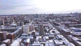 Τοπ άποψη της μεγάλης ρωσικής πόλης το χειμώνα r r ( Δημοκρατία της Καρελίας, βόρεια της Ρωσίας απόθεμα βίντεο