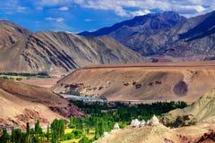 Τοπ άποψη της πράσινης κοιλάδας, τοπίο Ladakh, Τζαμού και Κασμίρ, Ινδία Στοκ Εικόνα