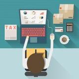 Τοπ άποψη του επιχειρηματία που εργάζεται στο γραφείο στο επίπεδο ύφος concep Στοκ εικόνες με δικαίωμα ελεύθερης χρήσης