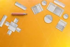 Τοπ άποψη του λεπτομερούς σχεδίου σπιτιών και επίπλων για το κίτρινο δέρμα Στοκ εικόνες με δικαίωμα ελεύθερης χρήσης