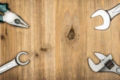 Τοπ άποψη του διαφορετικού τύπου εποικοδομητικών εργαλείων με το διάστημα αντιγράφων Στοκ φωτογραφία με δικαίωμα ελεύθερης χρήσης