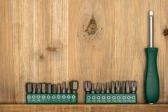 Τοπ άποψη του διαφορετικού τύπου εποικοδομητικών εργαλείων με το διάστημα αντιγράφων Στοκ Εικόνα