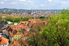 Τοπ άποψη του κέντρου πόλεων του Γκραζ Στοκ Εικόνα