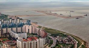 Τοπ άποψη του κατοικημένου επιβάτη περιοχής και κατασκευής seap στοκ φωτογραφία με δικαίωμα ελεύθερης χρήσης