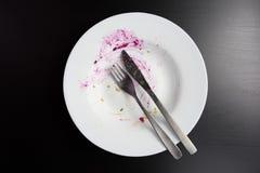 Τοπ άποψη του κενού βρώμικου πιάτου Στοκ Εικόνες