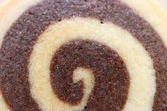Τοπ άποψη του κλειστού επάνω βουτύρου μπισκότου στροβίλου βανίλιας και σοκολάτας, για τη σύσταση και το υπόβαθρο Στοκ Φωτογραφίες