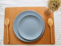 Τοπ άποψη του μπλε κενού πιάτου Στοκ φωτογραφίες με δικαίωμα ελεύθερης χρήσης