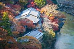 Τοπ άποψη του ποταμού και του δάσους στην εποχή φθινοπώρου σε Arashiyama Στοκ Εικόνες