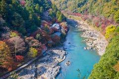Τοπ άποψη του ποταμού και του δάσους στην εποχή φθινοπώρου σε Arashiyama Στοκ φωτογραφία με δικαίωμα ελεύθερης χρήσης