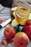 Τοπ άποψη του ποτηριού του χυμού της Apple Στοκ εικόνες με δικαίωμα ελεύθερης χρήσης